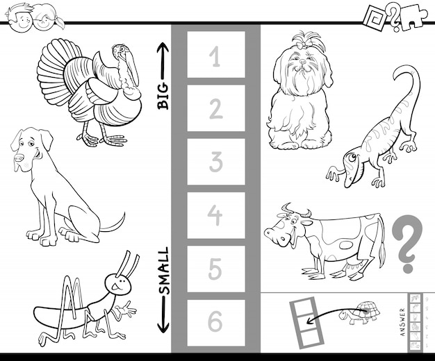 Znajdź największą aktywność książki kolorów zwierząt