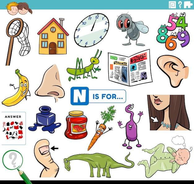 Znajdź obrazki zaczynające się na literę n zadanie edukacyjne