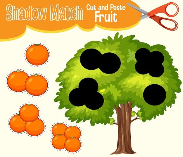 Znajdź odpowiedni arkusz roboczy z dopasowaniem cienia i cienia dla ucznia w przedszkolu
