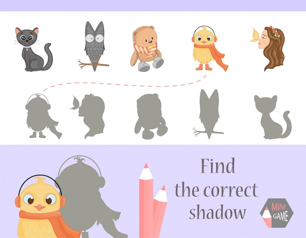 Znajdź odpowiedni cień, edukacyjną grę dla dzieci.
