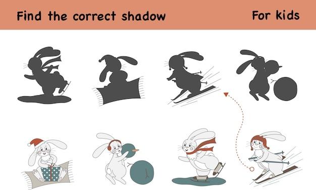 Znajdź odpowiedni cień. gra edukacyjna dla dzieci. aktywność dzieci z uroczym królikiem na łyżwach