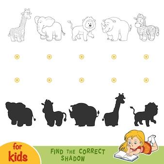 Znajdź odpowiedni cień, gra edukacyjna dla dzieci. czarno-białe zwierzęta z safari