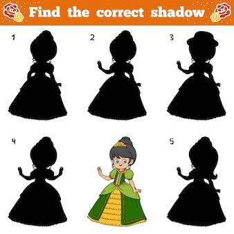 Znajdź odpowiedni cień, gra edukacyjna dla dzieci. księżniczka kreskówka wektor