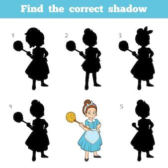 Znajdź odpowiedni cień, gra edukacyjna dla dzieci, pokojówka