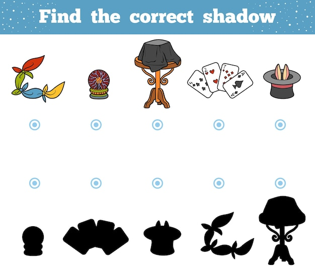 Znajdź odpowiedni cień, gra edukacyjna dla dzieci. zestaw akcesoriów dla maga
