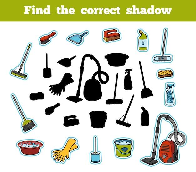 Znajdź odpowiedni cień, gra edukacyjna dla dzieci. zestaw przedmiotów do czyszczenia