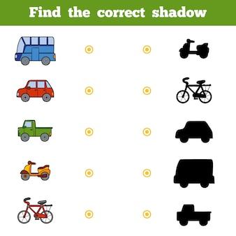 Znajdź odpowiedni cień, gra edukacyjna dla dzieci. zestaw transportu kreskówek