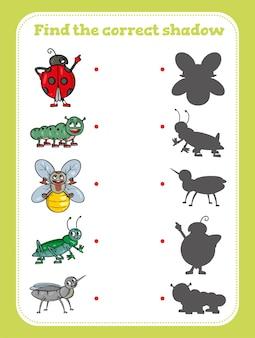 Znajdź odpowiedni cień. gra edukacyjna dla dzieci
