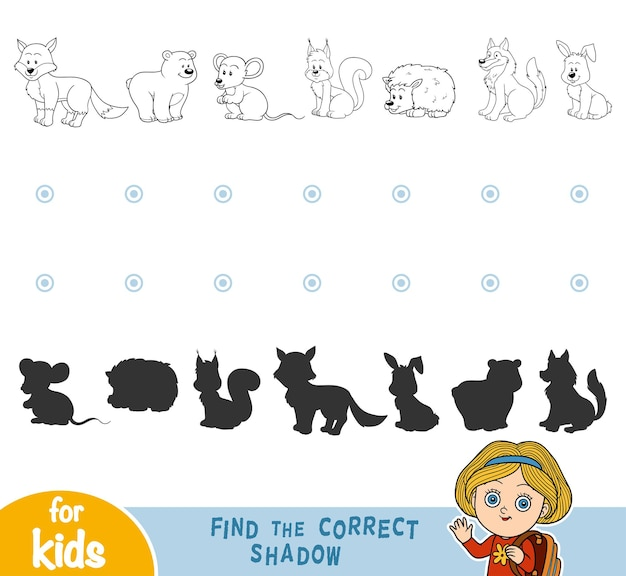 Znajdź odpowiedni cień, gry edukacyjne dla dzieci. czarno-białe zwierzęta leśne