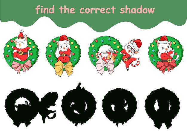 Znajdź odpowiedni cień kota świętego mikołaja z odznaką kwiatową