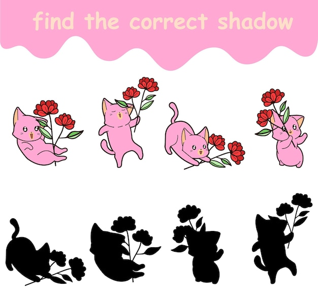 Znajdź odpowiedni cień kota trzyma kwiat