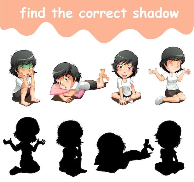 Znajdź odpowiedni cień kreskówek postaci dziewczyny girl