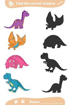 Znajdź odpowiedni cień. śliczne kolorowe dinozaury. arkusz przedszkolny.