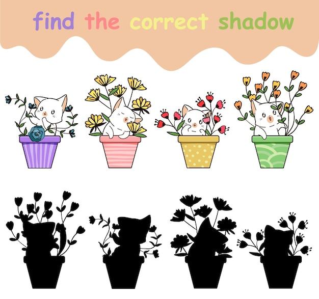 Znajdź odpowiedni cień uroczego kota i kwiatka w wazonie