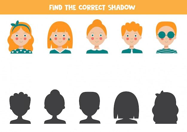 Znajdź odpowiedni cień uroczych kreskówek. gra edukacyjna.
