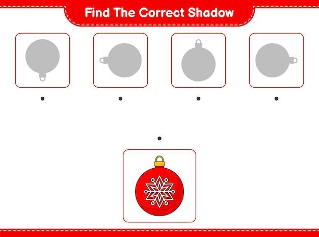 Znajdź odpowiedni cień znajdź i dopasuj odpowiedni cień christmas ball edukacyjne dzieci