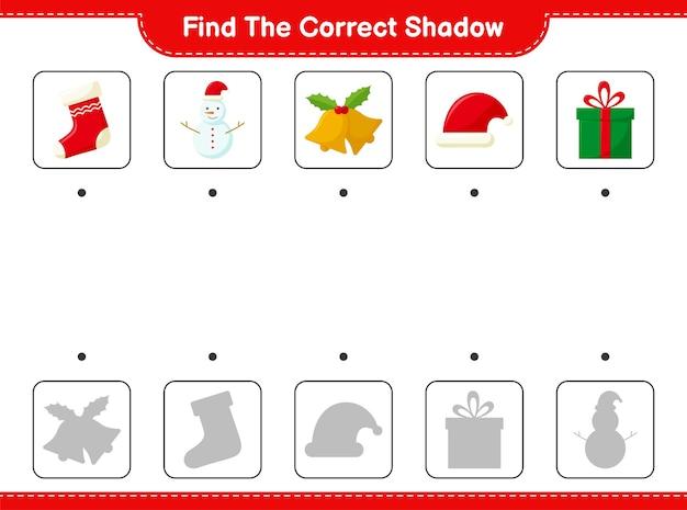 Znajdź odpowiedni cień. znajdź i dopasuj odpowiedni cień christmas decoration.