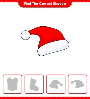 Znajdź odpowiedni cień znajdź i dopasuj odpowiedni cień gry edukacyjnej dla dzieci santa hat