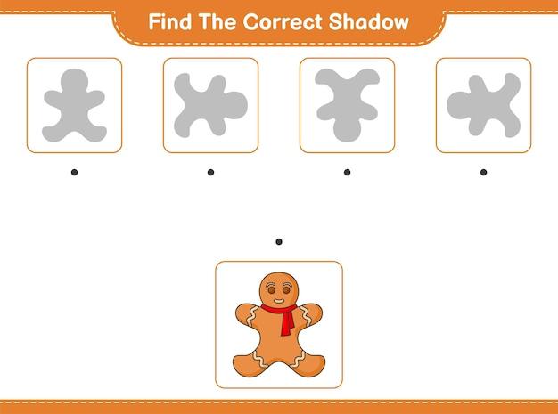 Znajdź odpowiedni cień znajdź i dopasuj odpowiedni cień piernikowego ludzika