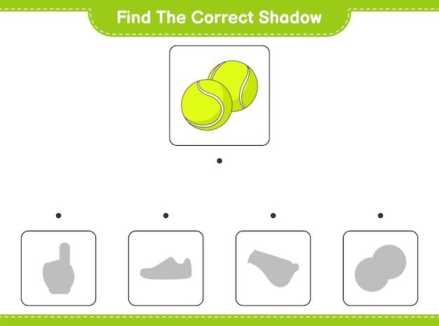 Znajdź odpowiedni cień. znajdź i dopasuj odpowiedni cień piłki tenisowej. gra edukacyjna dla dzieci, arkusz do druku