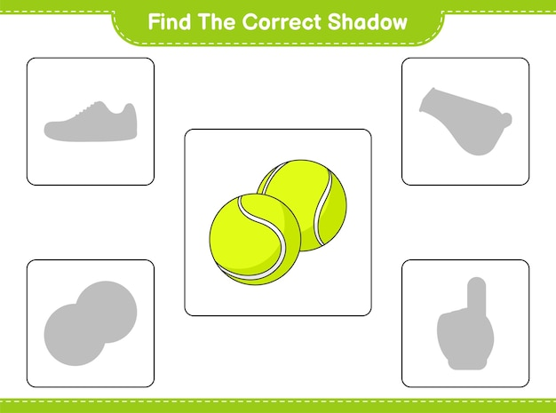Znajdź odpowiedni cień. znajdź i dopasuj odpowiedni cień piłki tenisowej. gra edukacyjna dla dzieci