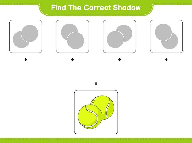 Znajdź odpowiedni cień znajdź i dopasuj odpowiedni cień piłki tenisowej gra edukacyjna dla dzieci