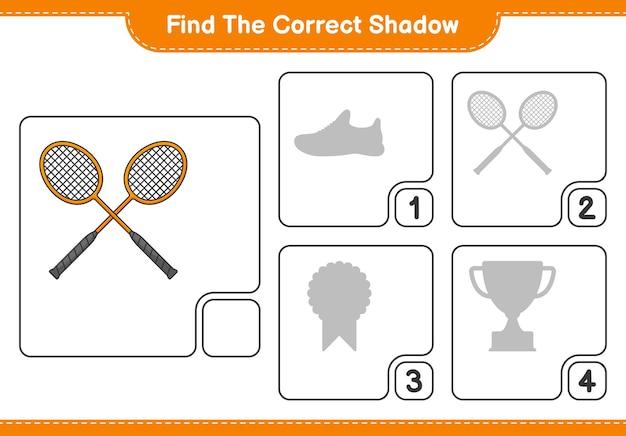 Znajdź Odpowiedni Cień Znajdź I Dopasuj Odpowiedni Cień Rakiet Do Badmintona Premium Wektorów