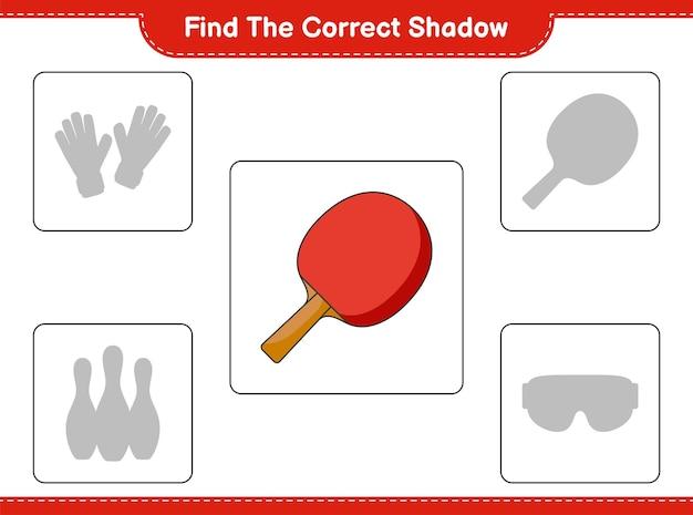 Znajdź odpowiedni cień. znajdź i dopasuj odpowiedni cień rakiety do ping-ponga