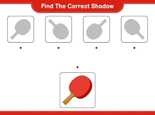 Znajdź odpowiedni cień znajdź i dopasuj odpowiedni cień rakiety do ping-ponga