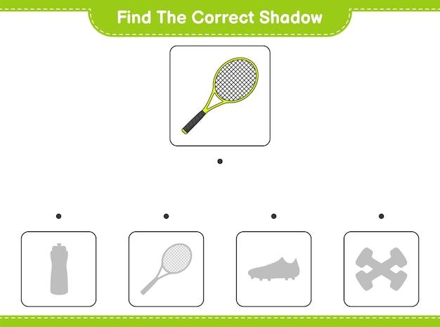 Znajdź odpowiedni cień. znajdź i dopasuj odpowiedni cień rakiety tenisowej. gra edukacyjna dla dzieci, arkusz do druku