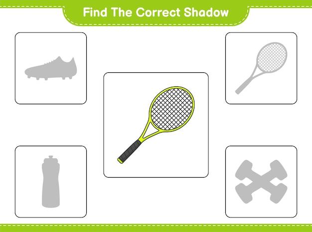 Znajdź odpowiedni cień. znajdź i dopasuj odpowiedni cień rakiety tenisowej