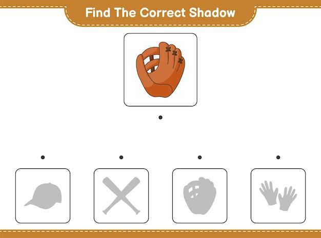 Znajdź odpowiedni cień. znajdź i dopasuj odpowiedni cień rękawicy baseballowej. gra edukacyjna dla dzieci, arkusz do druku