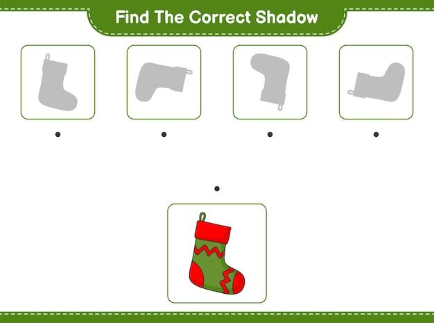 Znajdź odpowiedni cień znajdź i dopasuj odpowiedni cień świątecznej skarpety