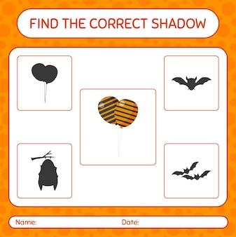 Znajdź odpowiednią grę cieni z balonem. arkusz roboczy dla dzieci w wieku przedszkolnym, arkusz aktywności dla dzieci