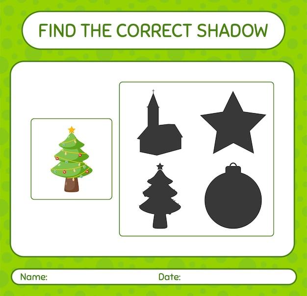 Znajdź odpowiednią grę cieni z choinką. arkusz roboczy dla dzieci w wieku przedszkolnym, arkusz aktywności dla dzieci
