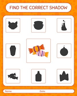 Znajdź odpowiednią grę cieni z cukierkami. arkusz roboczy dla dzieci w wieku przedszkolnym, arkusz aktywności dla dzieci