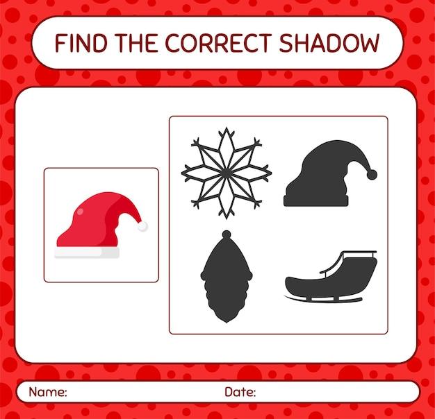 Znajdź odpowiednią grę cieni z czapką świętego mikołaja. arkusz roboczy dla dzieci w wieku przedszkolnym, arkusz aktywności dla dzieci