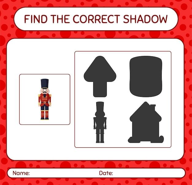 Znajdź odpowiednią grę cieni z dziadkiem do orzechów. arkusz roboczy dla dzieci w wieku przedszkolnym, arkusz aktywności dla dzieci