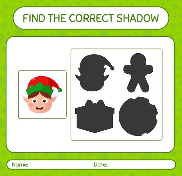 Znajdź odpowiednią grę cieni z elfem. arkusz roboczy dla dzieci w wieku przedszkolnym, arkusz aktywności dla dzieci