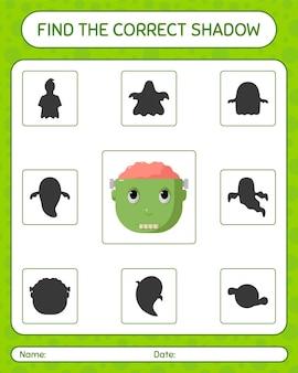 Znajdź odpowiednią grę cieni z frankensteinem. arkusz roboczy dla dzieci w wieku przedszkolnym, arkusz aktywności dla dzieci