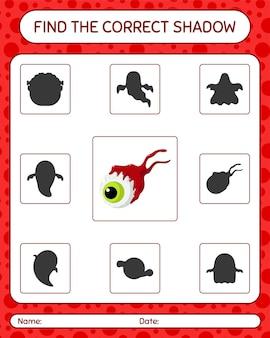 Znajdź odpowiednią grę cieni z gałką oczną. arkusz roboczy dla dzieci w wieku przedszkolnym, arkusz aktywności dla dzieci