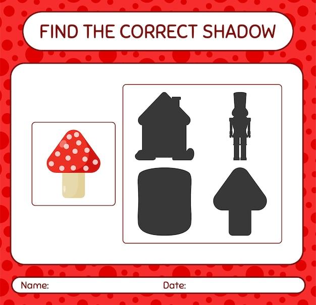 Znajdź odpowiednią grę cieni z grzybem. arkusz roboczy dla dzieci w wieku przedszkolnym, arkusz aktywności dla dzieci