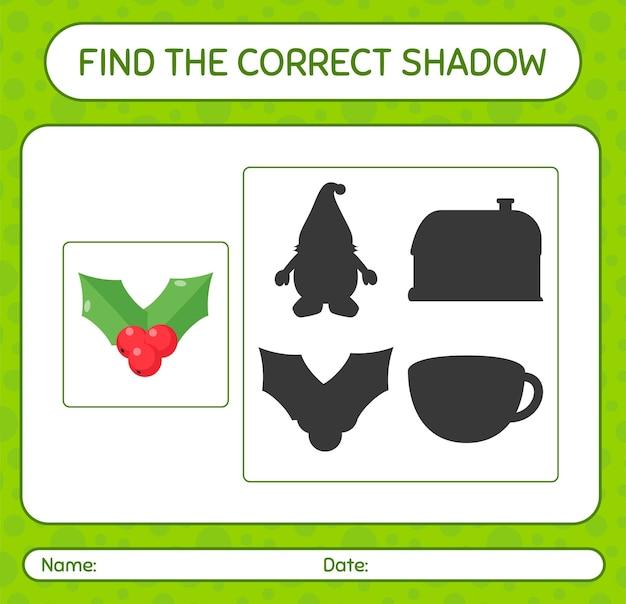 Znajdź odpowiednią grę cieni z holly berry. arkusz roboczy dla dzieci w wieku przedszkolnym, arkusz aktywności dla dzieci