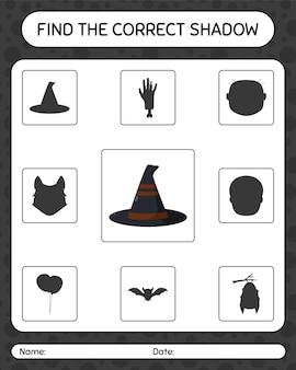 Znajdź odpowiednią grę cieni z kapeluszem wiedźmy. arkusz roboczy dla dzieci w wieku przedszkolnym, arkusz aktywności dla dzieci