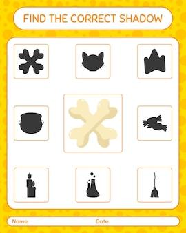 Znajdź odpowiednią grę cieni z kością. arkusz roboczy dla dzieci w wieku przedszkolnym, arkusz aktywności dla dzieci