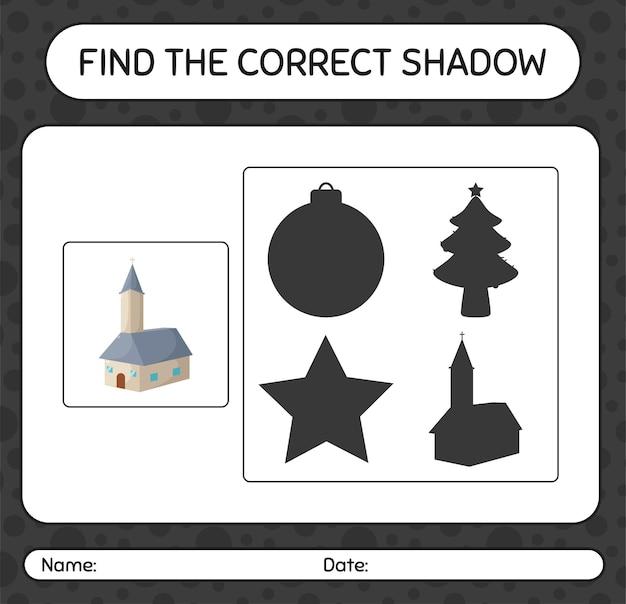 Znajdź odpowiednią grę cieni z kościołem. arkusz roboczy dla dzieci w wieku przedszkolnym, arkusz aktywności dla dzieci