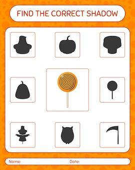 Znajdź odpowiednią grę cieni z lollipopem. arkusz roboczy dla dzieci w wieku przedszkolnym, arkusz aktywności dla dzieci