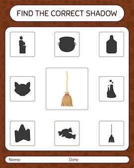 Znajdź odpowiednią grę cieni z miotłą. arkusz roboczy dla dzieci w wieku przedszkolnym, arkusz aktywności dla dzieci