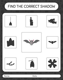 Znajdź odpowiednią grę cieni z nietoperzem. arkusz roboczy dla dzieci w wieku przedszkolnym, arkusz aktywności dla dzieci