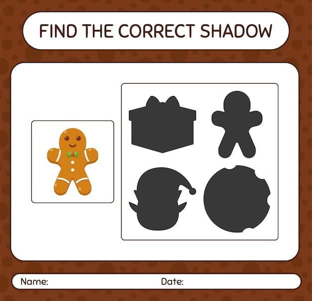 Znajdź odpowiednią grę cieni z piernikowym ciastkiem. arkusz roboczy dla dzieci w wieku przedszkolnym, arkusz aktywności dla dzieci